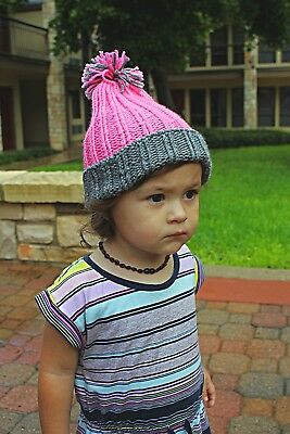 Hand Knitted Toddler Hat, Pink & Gray, 1st Birthday Gift Ideas for Girls, 10-18