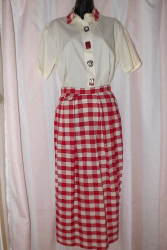 Vintag Baseball Skirt Plaid Red White Shirt Buttons Earrings Carolyn Rothwell SM