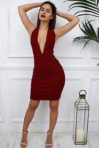 mujer-Burdeos-Escotado-Sin-Espalda-Bajo-V-Famosos-Vestido-Cenido-De-Fiesta