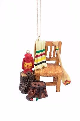 Camping Chair with Lantern, Paddle and Fishing Creel Christmas Ornament ](Camping Ornaments)