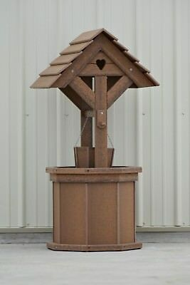 (4 ft. Poly Wishing Well; with Planter Bucket; Wood Looking, Antique Mahogany)