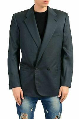 Grau Sport Coat Blazer (Versace Herren 100% Seide Dunkelgrau Doppelreihiger Blazer Sport Coat 38 It 48)