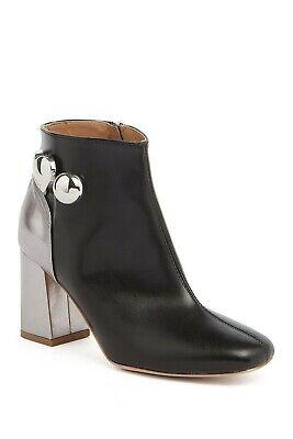 $400 LOVE MOSCHINO Block Heel Bootie silver black leather METAL HARDWARE 39 (M29