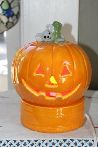 Vintage Halloween Ceramic JACK-O-LANTERN Pumpkin Mouse w/Base Light Up hand made