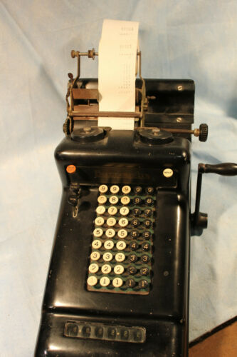 VINTAGE BURROUGHS ADDING MACHINE WITH HAND CRANK WORKING