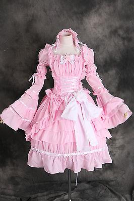 M-3109 S/M/L/XL/XXL stretch Gothic Lolita rosa Cosplay Kostüm costume Kleid -
