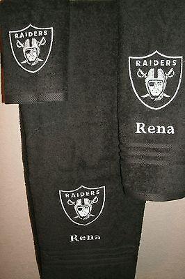 Raiders Personalized 3 Piece Bath Towel Set Football Raiders any -