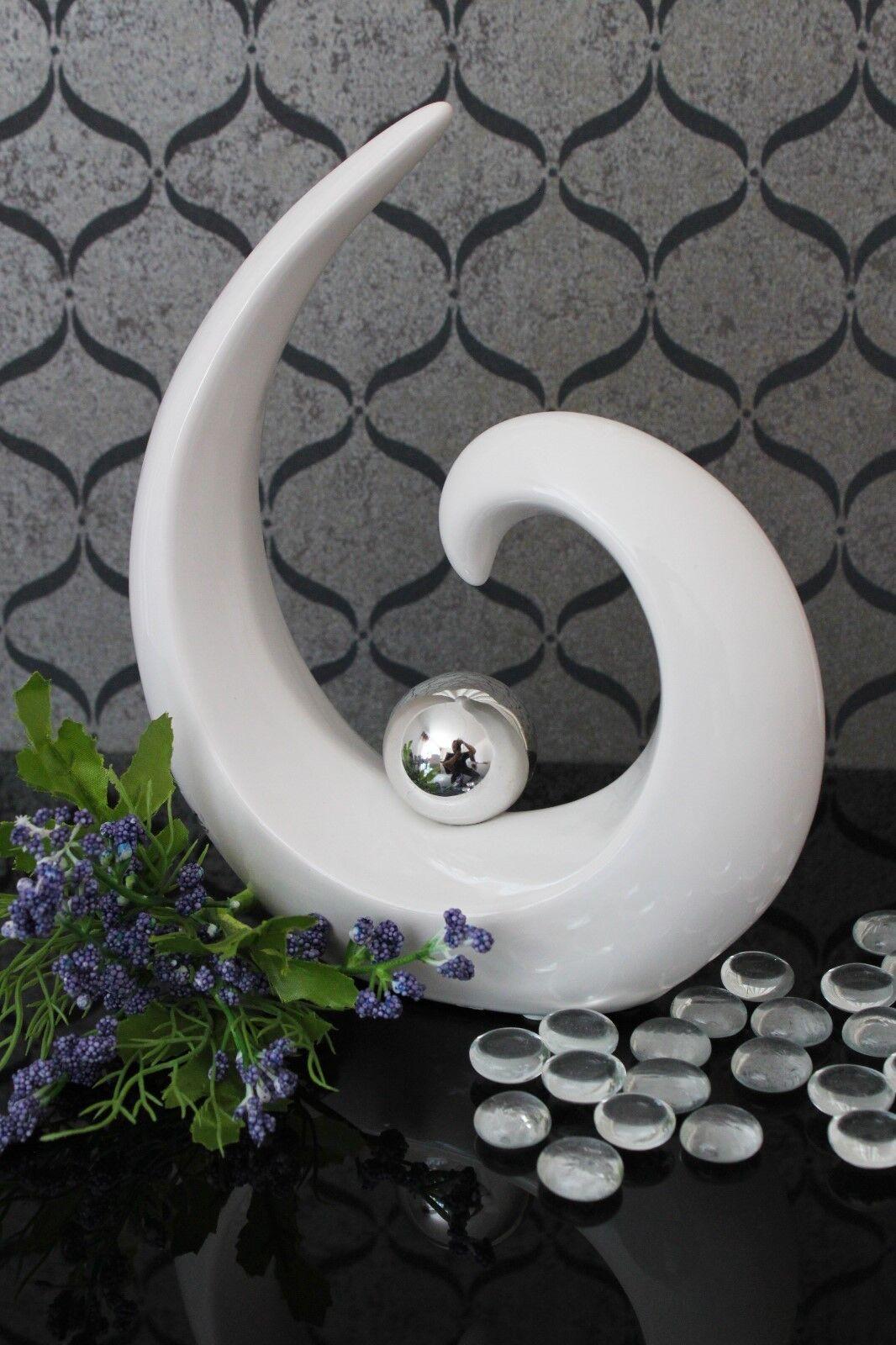 Deko Skulptur B Ware Keramik 21cm weiß silber Kugel design Figur modern Tisch