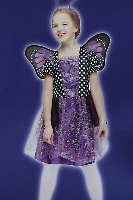 GIRLS MED PURPLE MONARCH BUTTERFLY HALLOWEEN COSTUME - Purple Butterfly Halloween Kostüm