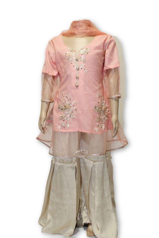 B03 Pakistani Indian Girls 3pc Fancy Peplum Shirt Style