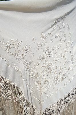 Antique c.1900 Silk Embroidered Canton de Manila Handmade Piano Shawl #wedding