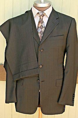 Hickey Freeman Madison Wool Gray Pinstripe Three Button Suit Pleated Cuffed 40R