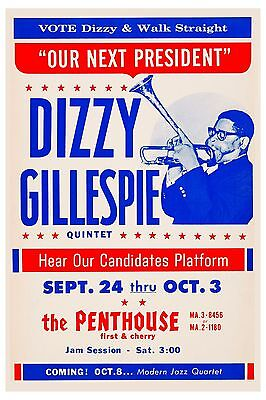 Jazz Giant: Dizzy Gillespie at the Penthouse Concert Poster 1964  12x18
