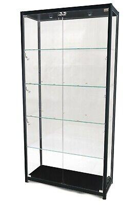 Black Aluminum Framed Tempered Glass Tower Rectangular Showcase With Lock Led