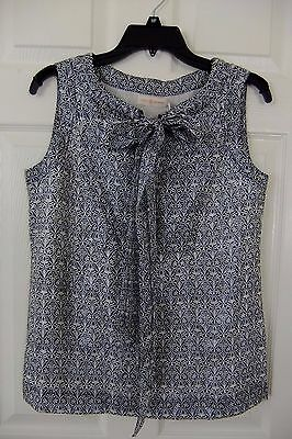AUTH Tory Burch Shinny Saffield Tie Neck Blouse Top in Navy White Size 6 NWT