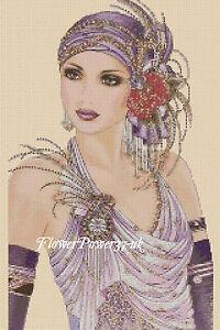 Cross stitch chart  Art Deco Lady 173 FlowerPower37-UK-.FREE UK P&P