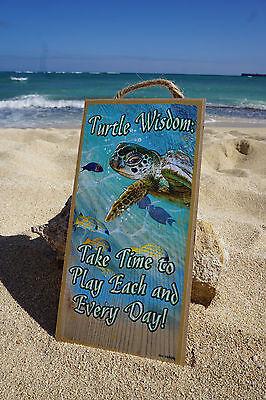 TURTLE WISDOM - TAKE TIME TO PLAY Tropical Beach Sea Ocean Home Decor Sign NEW