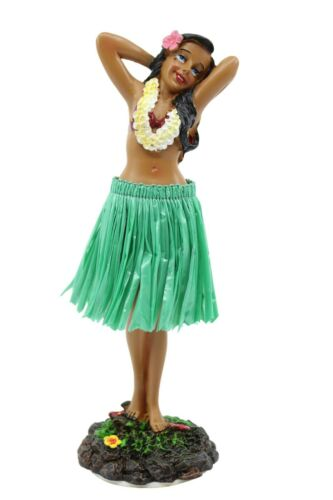 "Hawaiian Hula Lady Posing Dashboard Doll - 7"" Car Doll, Hawaii Souvenir, Green"