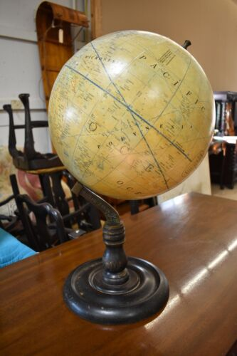 "Vintage 15"" World Globe with Wood Base, Maritime Survey"
