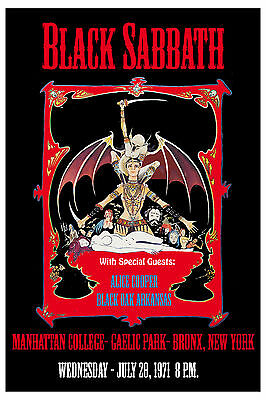 Black Sabbath &  Alice Cooper at Manhattan College Bronx NY Concert Poster 1971