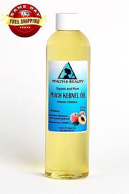 PEACH KERNEL OIL ORGANIC COLD PRESSED by H&B Oils Center PREMIUM 100% PURE 8 OZ 100% Pure Organic Peach