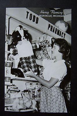 Nancy Fleming Miss America 1961 Montague  Michigan Rppc Postcard  Todd Pharmacy