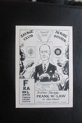1957 THE SAVAGE CLUB  DINNER CARD  HARRY RILEY CARTOON CARICATURE FRANK LAW