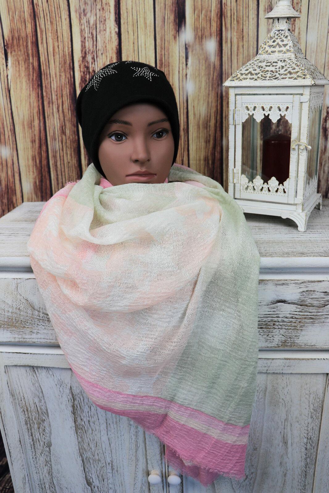 Damen XXL Schal Tuch mit rosa grün Sternmuster