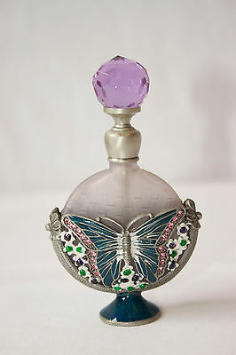 Vintage Frosted Glass & Pewter Perfume container w/ Enamel Butterfly & Gemstones