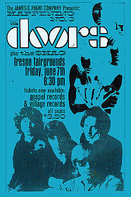 Rock: Jim Morrison & Doors at Fresno Fairgrounds Concert Poster 1968  2nd Print