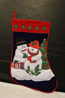 Snowman Male & Female Hanging Christmas Stocking - Appliqued](Female Snowman)