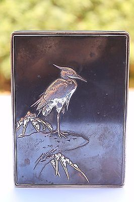 ANTIQUE MIYAMOTO SHOKO PURE SILVER CIGARETTE BOX CRANE MOTIF COVER JAPANESE