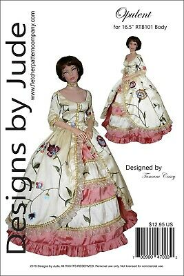 Opulent Gown Doll Clothes Sewing Pattern for 16.5