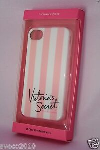 1 VICTORIA'S SECRET PINK & WHITE STRIPED CASE SKIN COVER FOR iPHONE 4/4S NEW