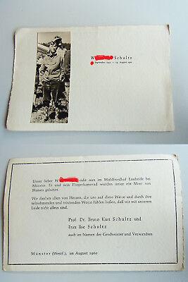 Foto-Todesanzeige Münster 1960 For 16jährigen Son From Prof. Bruno Kurt Schultz