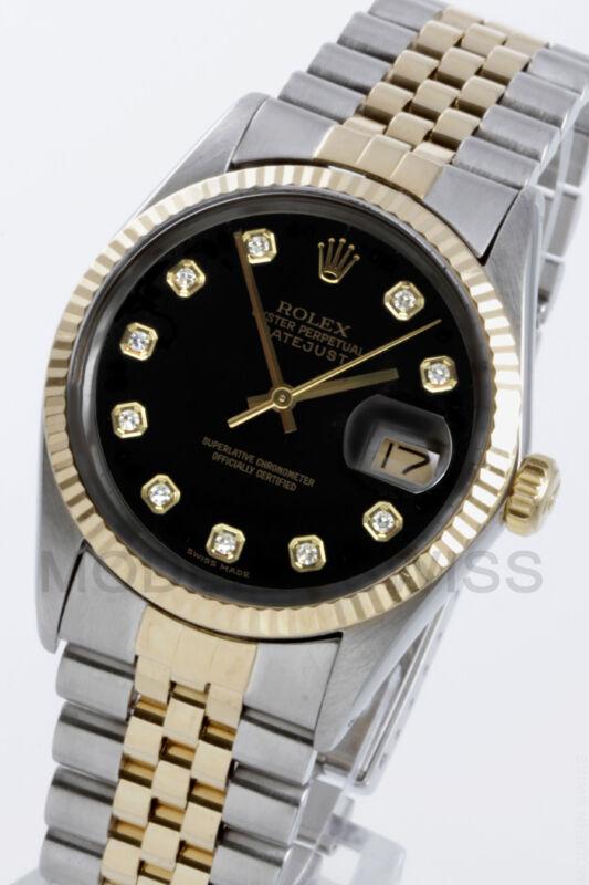 Rolex Mens Datejust Y Gold & Steel Black Diamond Dial Jubilee 16013 Quickset