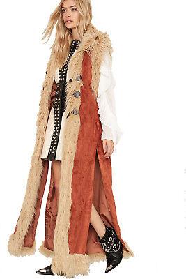WIDOW SUEDE LONG FAUX FUR BROWN VEST COAT JACKET MEDIEVAL GYPSY VIKING BARBARIAN - Medieval Vests