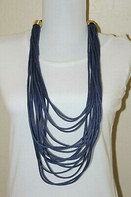 #76 Nordstrom Area Stars Blue Corded Multi Strand Long Necklace $68