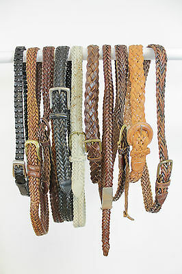 10 X VINTAGE WOVEN LEATHER BELTS JOB LOT. MIX OF SIZES & STYLES.
