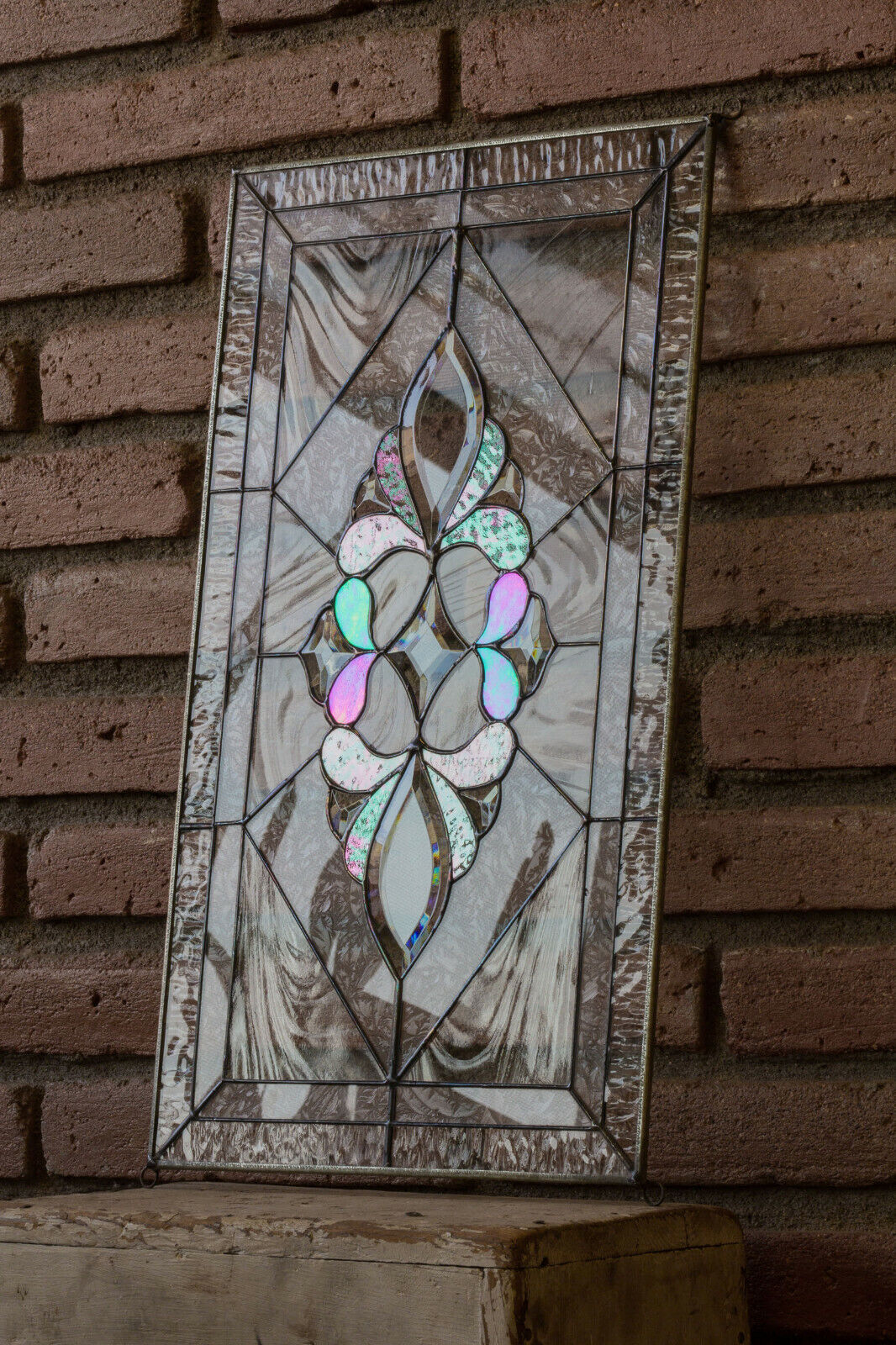 Tiffany Style Stained Glass Window Panel RV Clear Beveled VICTORIAN FLORAL Art