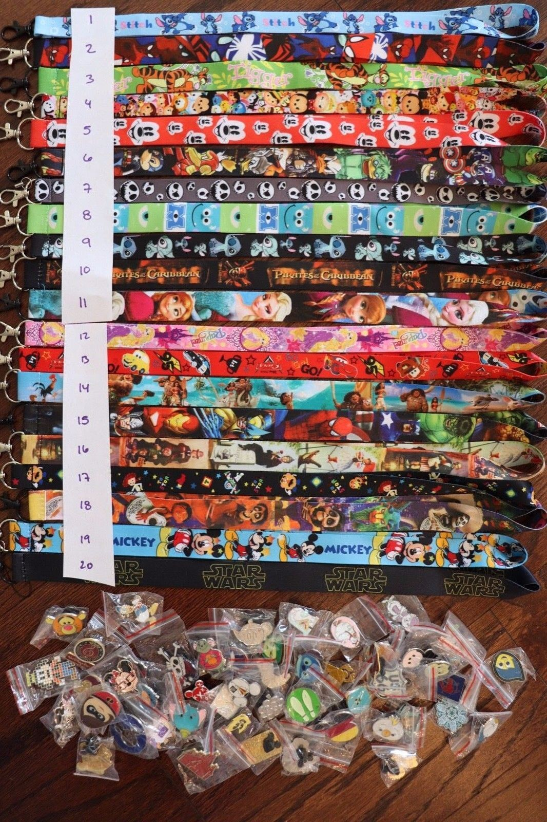 Disney World Pin Trading Lot Lanyard Starter Set Princess Mickey Cars w/ 25 Pins