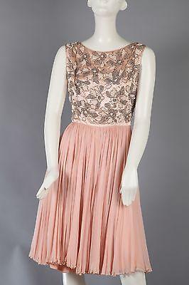 Vintage Blush Party Dress w Beaded Bodice & Chiffon Skirt Bodice Chiffon Skirt
