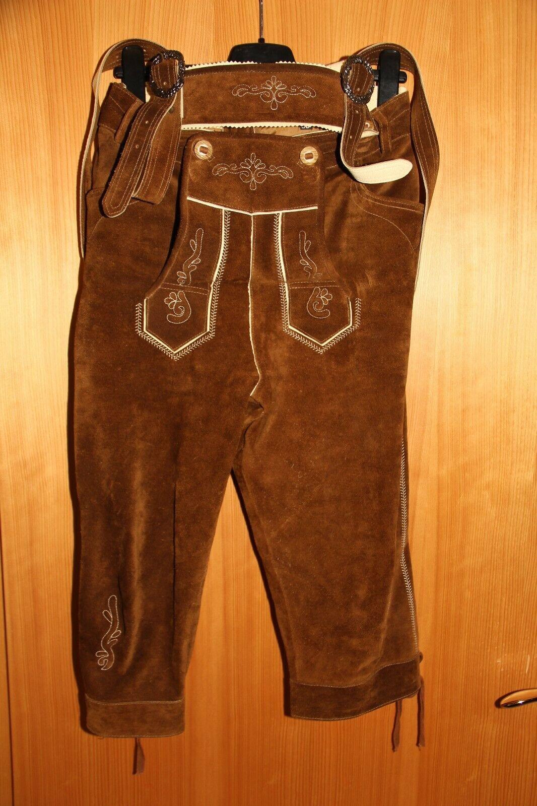 Herren, Trachtenlederhose mit Hosenträger, knielang, Größe 58, braun