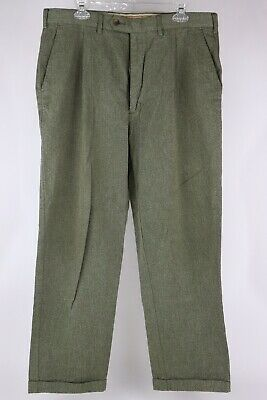 Gant USA Mens 36x30 Olive Heather Twill 100% Cotton Pleated Trousers -