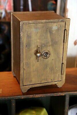 Antique Safe Home Deposit Vault with Key Salesman Sample Lock Box cast iron Rare