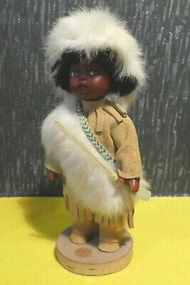 SOUVENIR FROM CANADA NATIVE DOLL REAL FUR / SUEDE OUTFIT HUNTER TRAPPER ESKIMO