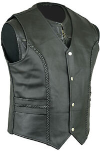 cuir pour hommes mode gilet sans manche moto route haut vintage ebay. Black Bedroom Furniture Sets. Home Design Ideas