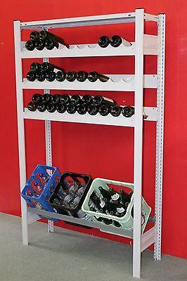 für 57 Weinflaschen u. 3 Kisten.wieBild Regalmenge-Produkt metall grau lackiert