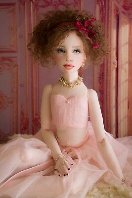 Cherry Sweet, 23in. OOAK, All Cloth, Articulated, Lady, Art Doll, by Gayle Wray