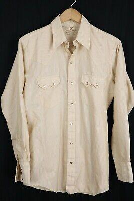 1970s Mens Shirt Styles – Vintage 70s Shirts for Guys VTG Dee Cee Mens sz Medium Beige Striped Sawtooth Western Pearl Snap Shirt $23.75 AT vintagedancer.com